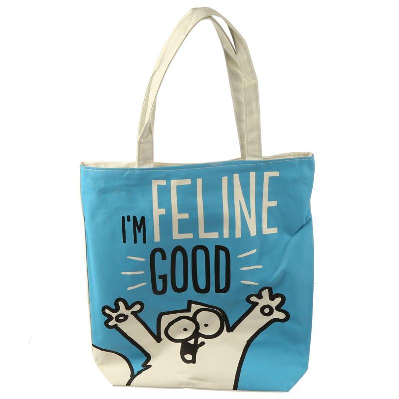 Macskás pamut táska, cipzáras - Simon's Cat - I'M FELINE GOOD