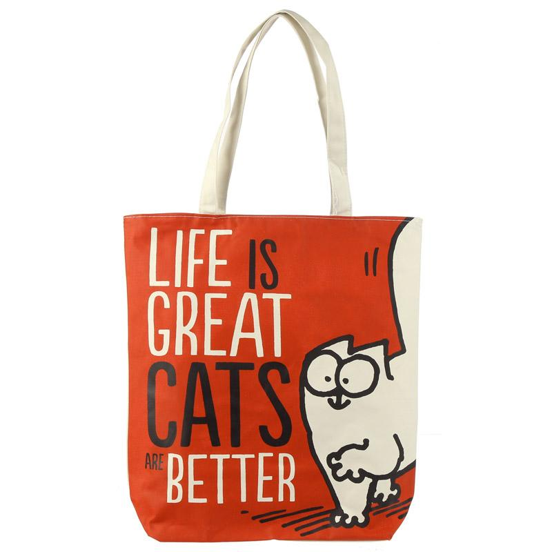 Pamut Táska, Cipzáras - Simon's Cat - LIFE IS GREAT CATS ARE BETTER
