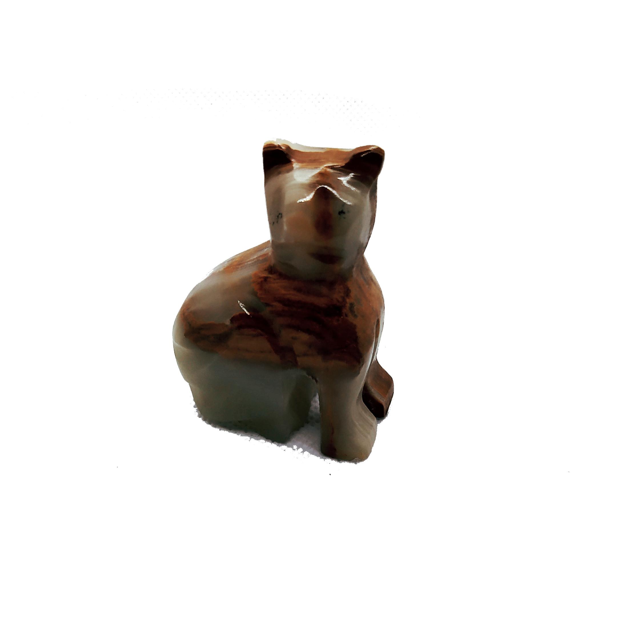 Kézzel faragott ónix cica dísz, macskás ásvány, marokkő